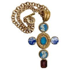 Patrizia Daliana Bronze Cross Pendant with Engraved Murano Glass Inserts