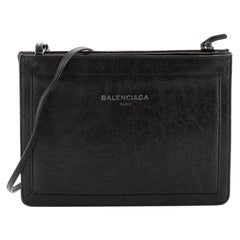 Balenciaga Navy Pochette S Leather