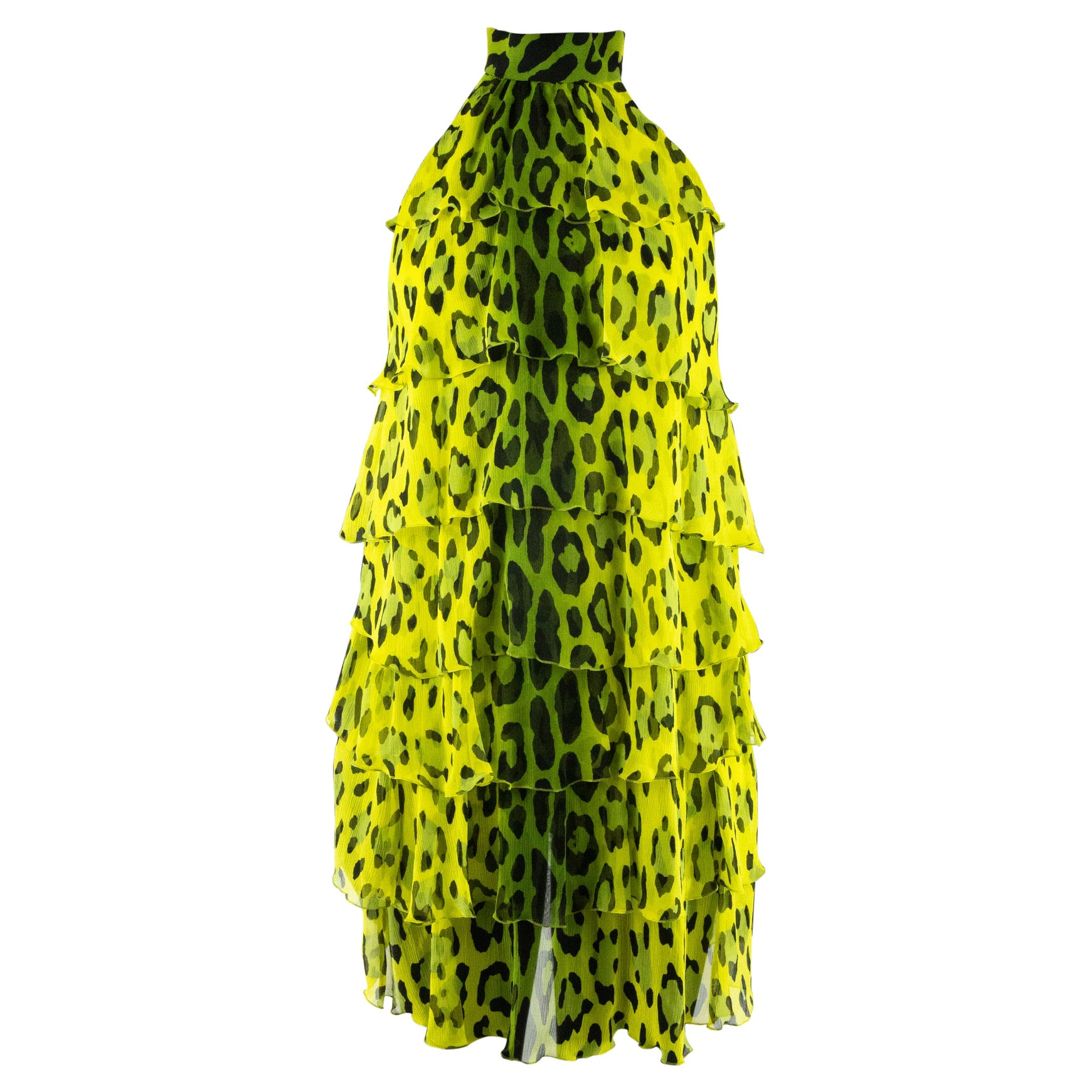 Tom Ford Yellow and Green Leopard Print Dress