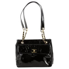 Chanel Vintage Front Pocket Chain Tote Patent Medium