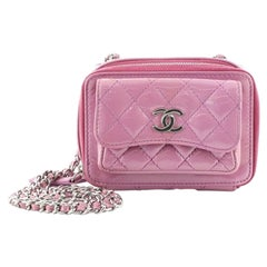 Chanel Pocket Box Camera Case Quilted Patent Mini
