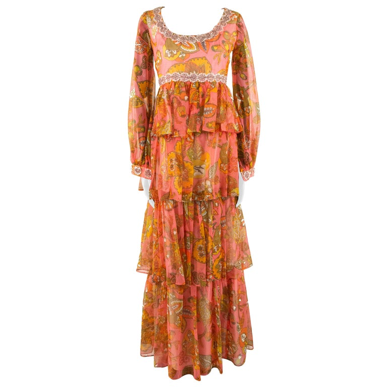 1970s Pauline Coral Psychedelic Print Dress For Sale