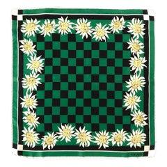 1980s Escada Silk Squared Checkered Edelweiss Print Scarf