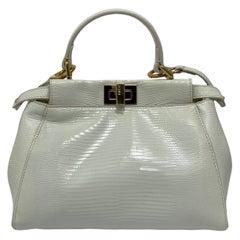 Fendi White Leather Peekaboo Bag