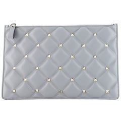 Valentino Candystud Zip Pouch Leather Large