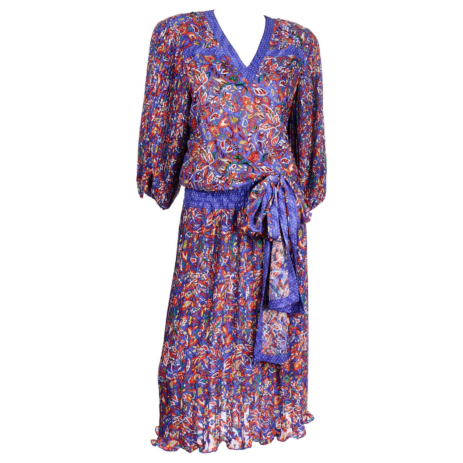 Vintage 1980s Diane Freis Colorful Mixed Pattern Print Beaded Dress W Sash
