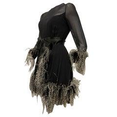 1960s Sarmi Black Silk Chiffon Dress W/ Ostrich Feather Trim Overlay Skirt & Bow