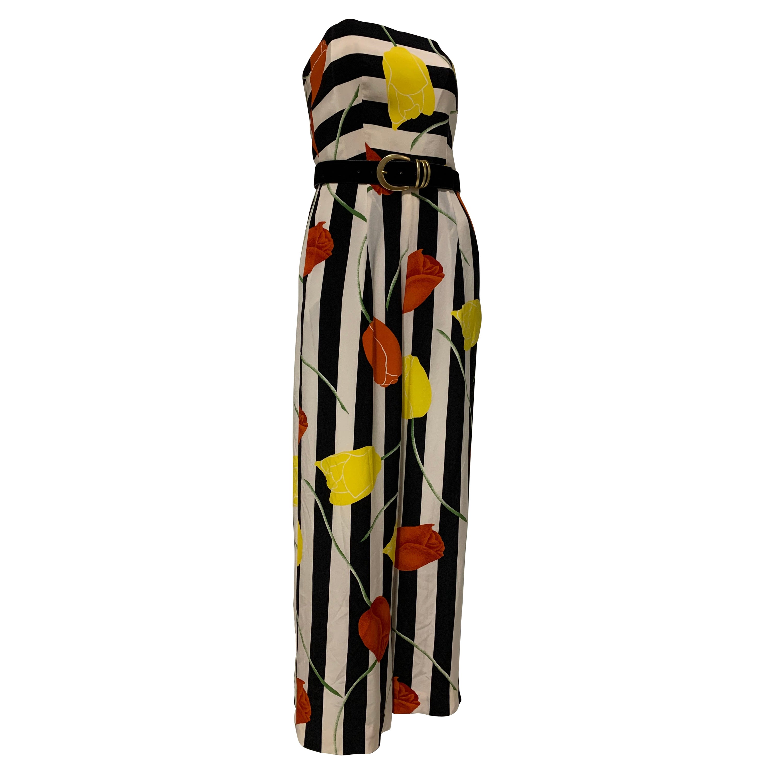 1980s Scaasi Bold Black & White Silk Wide Leg Jumpsuit W/ Red & Yellow Tulips