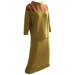 Bonnie Cashin Cashmere Sweater and Skirt Suit 2pc Intarsia Knit Saks 60s S