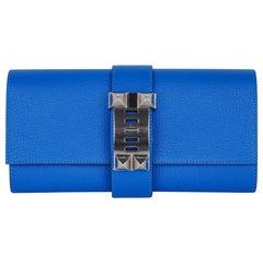 Hermes Medor 23 Clutch Bag Blue Hydra Palladium Hardware New
