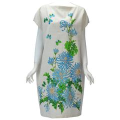 1970s Alfred Shaheen Print Custom Cotton Shift Dress