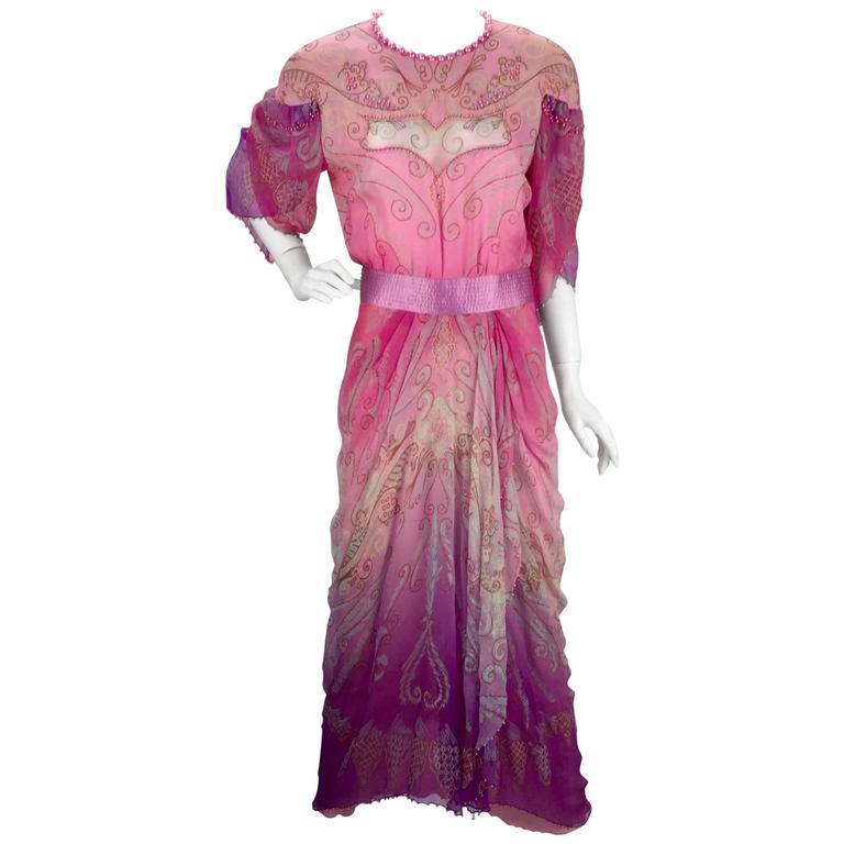 1970s Zandra Rhodes Pink Sik Screened Silk Evening Gown  1