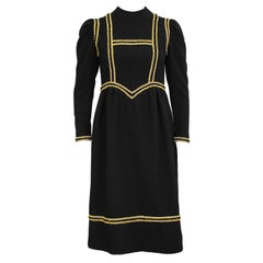 1960s Geoffrey Beene Black and Gold Dress