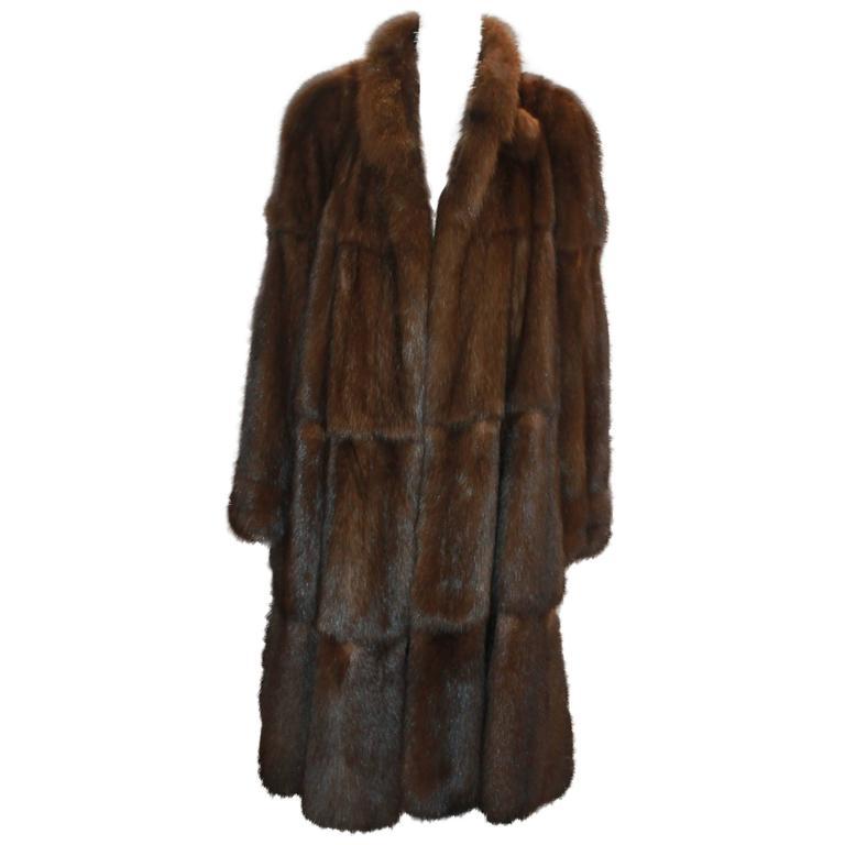 Valentino Vintage Brown Sable Fur Coat - L - circa 1980's For Sale