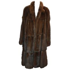 Valentino Vintage Brown Sable Fur Coat - L - circa 1980's