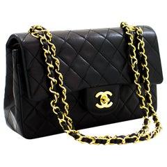 "CHANEL 2.55 Double Flap 9"" Chain Shoulder Bag Black Purse Lambskin"