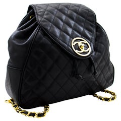 CHANEL Caviar Backpack Chain Bag Leather Black Flap Gold Hardware