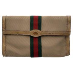 Gucci Vintage Beige Canvas Web Flap Cosmetic Bag Clutch Handbag