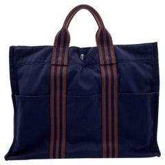 Hermes Paris Vintage Blue and Brown Cotton Fourre Tout MM Tote
