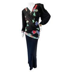 Leonard Paris for Bergdorf Goodman Vintage 80's Silk Jersey Evening Dress