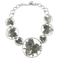Christian Lacroix Vintage Silver Toned Laser Cut Heart Medallion Necklace