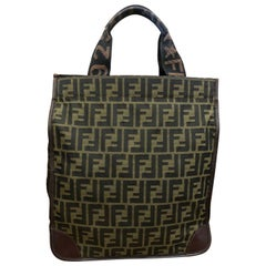 Vintage FENDI Brown Zucca Jacquard Foldable Tote Bag