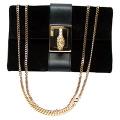 Gucci Italy Rare Black Suede Tiger Emblem Handbag Tom Ford Era c 2000