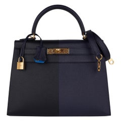 Hermes Kelly Casaque 28 Bag Black / Bleu Indigo Sellier Limited Edition