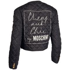 Moschino Vintage 1990s 90s Black Quilted Jacket with Cheap & Chic Graphic