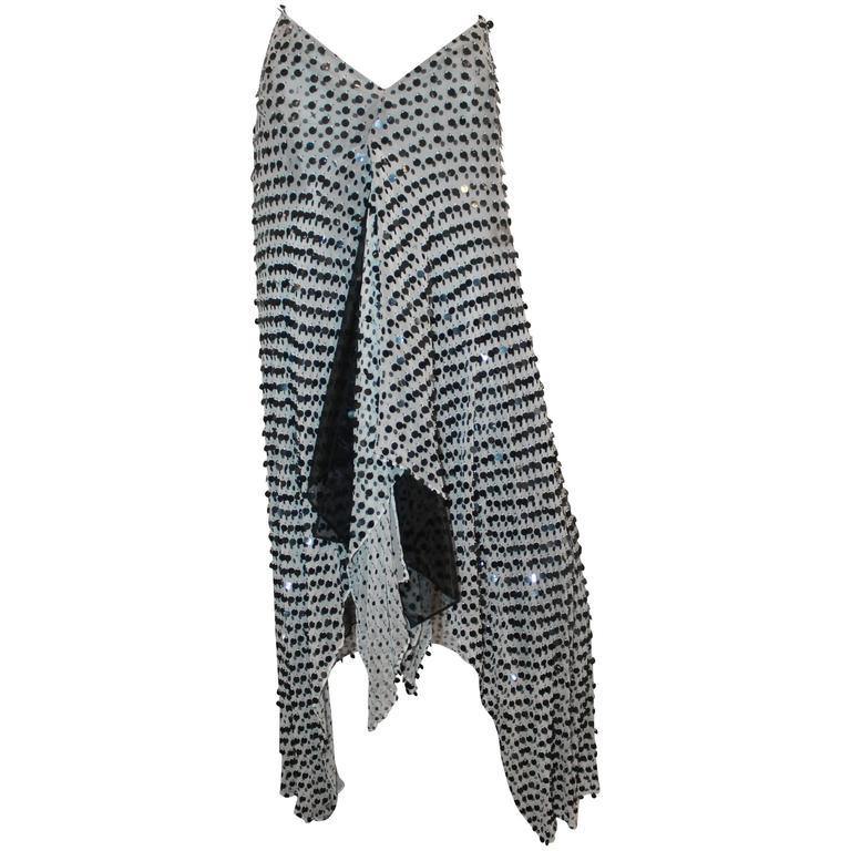 Giorgio Armani Black and White Chiffon High-Low Palette Skirt - 42