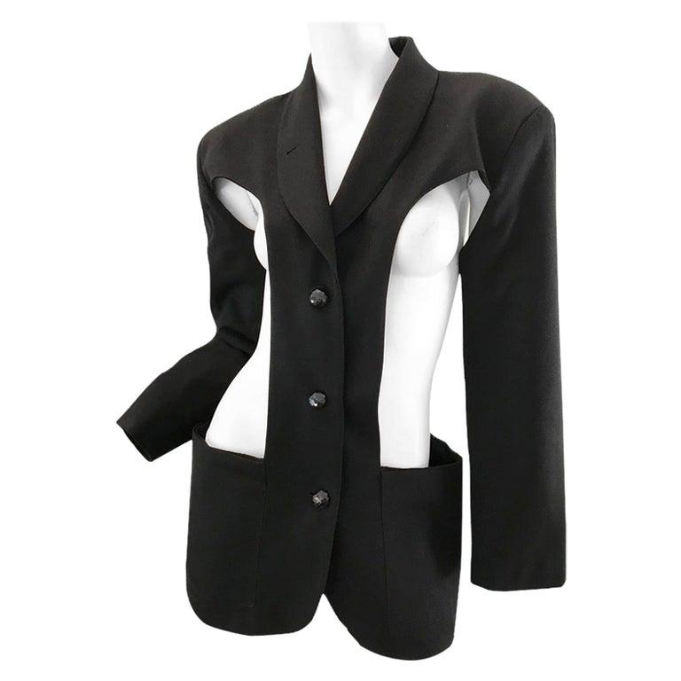 1980s Jean Paul Gaultier cut out blazer For Sale