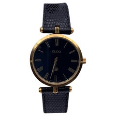 Gucci Vintage Gold Tone Stainless Steel Logo Watch Leather Strap