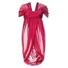 2008 Vintage Alexander McQueen Red Chiffon Silk Tunic Dress