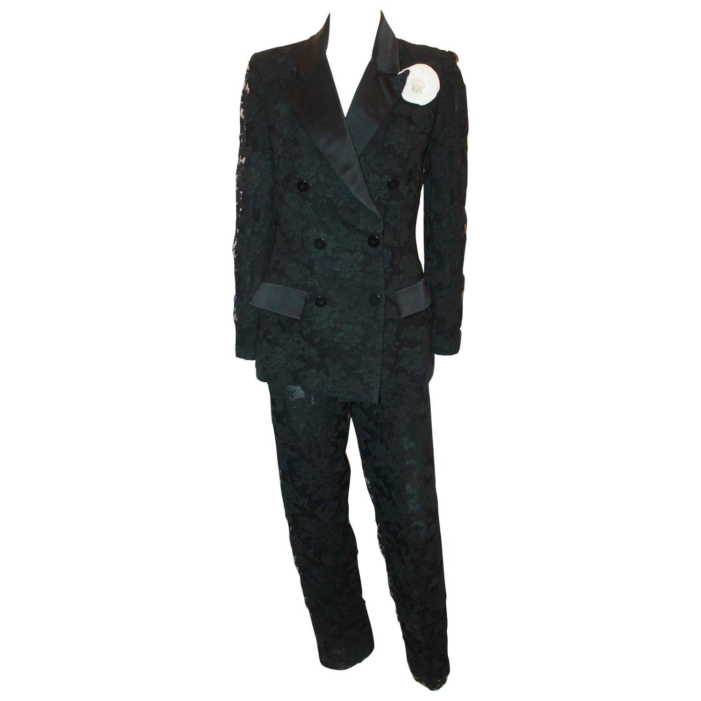Palm Beach Chic Circa 1990s: Bill Blass Vintage Black Tuxedo Style Soutache Lace Pant