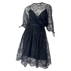 1960s Donald Brooks Black Lace Overlay 3/4 Sleeves Vintage 60s Dress