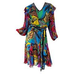 Diane Freis 1980s Chiffon Beaded Sequin Abstract Animal Print Vintage Dress Sash