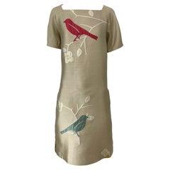 Bill Blass NWT Size 16 2000s Bird Novelty Print Beige Khaki Vintage Dress