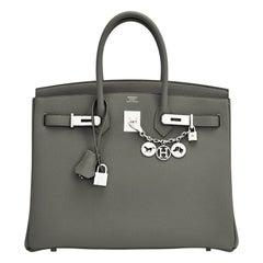 Hermes Birkin 35cm Vert de Gris Green Grey Togo Palladium Bag Y Stamp, 2020