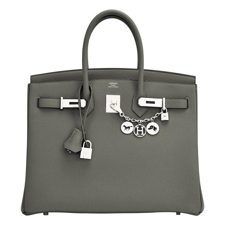 Hermes Birkin 35cm Vert de Gris Green Grey Togo Palladium Bag Y Stamp, 2020 For Sale