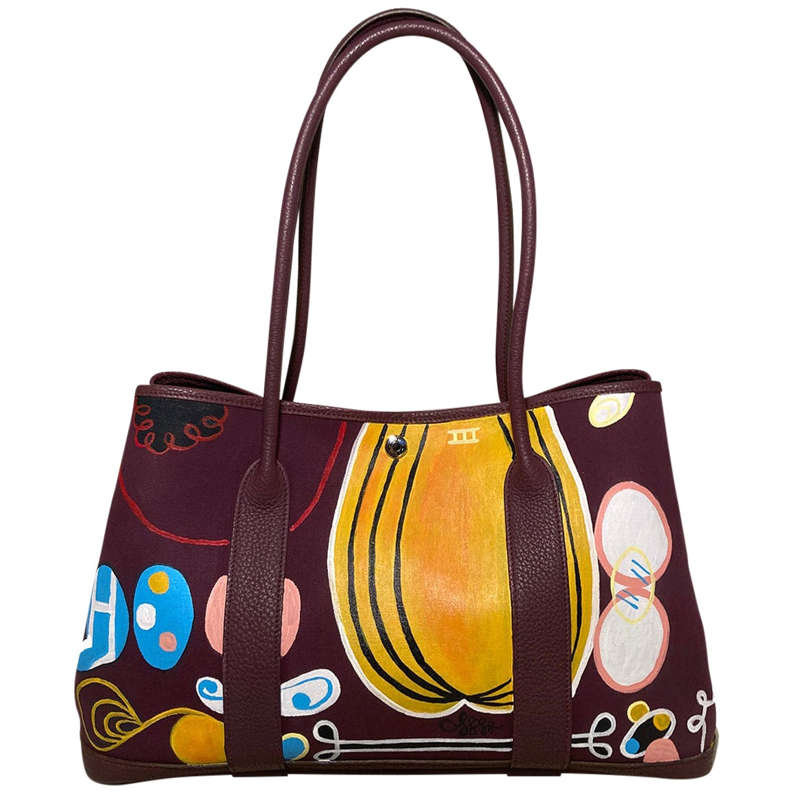 Hermes Purple Garden Party 40 Hand Painted
