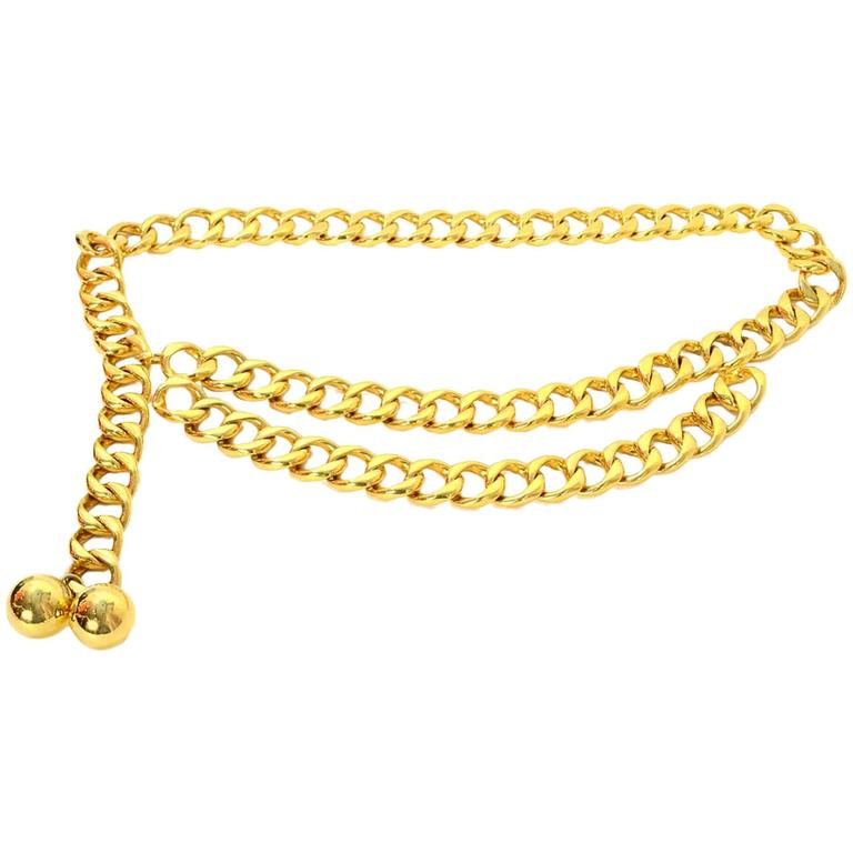 Chanel Vintage '60s Double Tier Gold Chain Link Belt 1