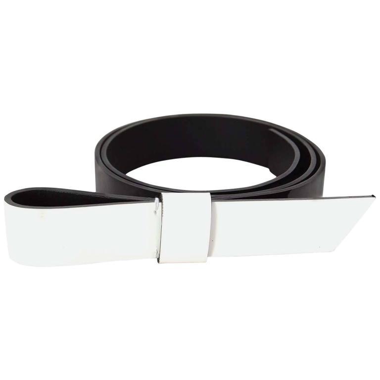 Lanvin Black & White Patent Belt sz S rt. $495