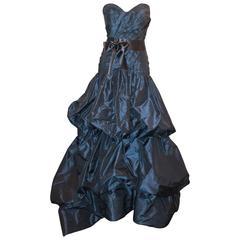 Oscar de la Renta Navy Silk Taffeta Strapless Gown