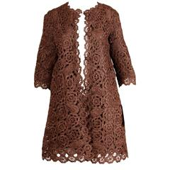 1960s Brown Scalloped Hand Crochet Raffia Lace Jacket or Coat