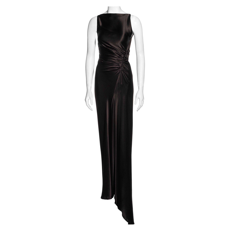 Gucci by Tom Ford brown silk bias cut evening dress with leg slit, fw 1999