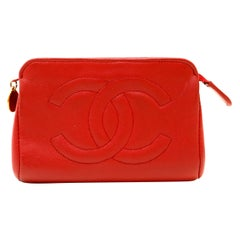Chanel Red Leather Coin Purse