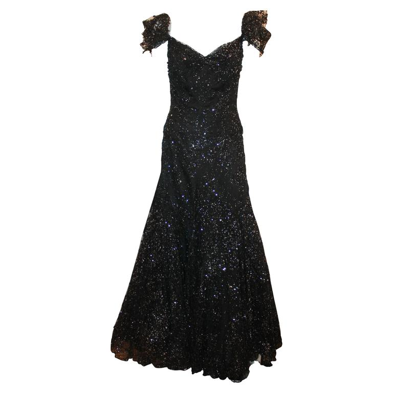 Vicky Tiel Black and Silver Tulle Lace Off the Shoulder Gown - 42