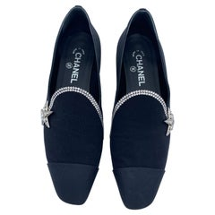 Chanel Black Star Loafers, Size 39