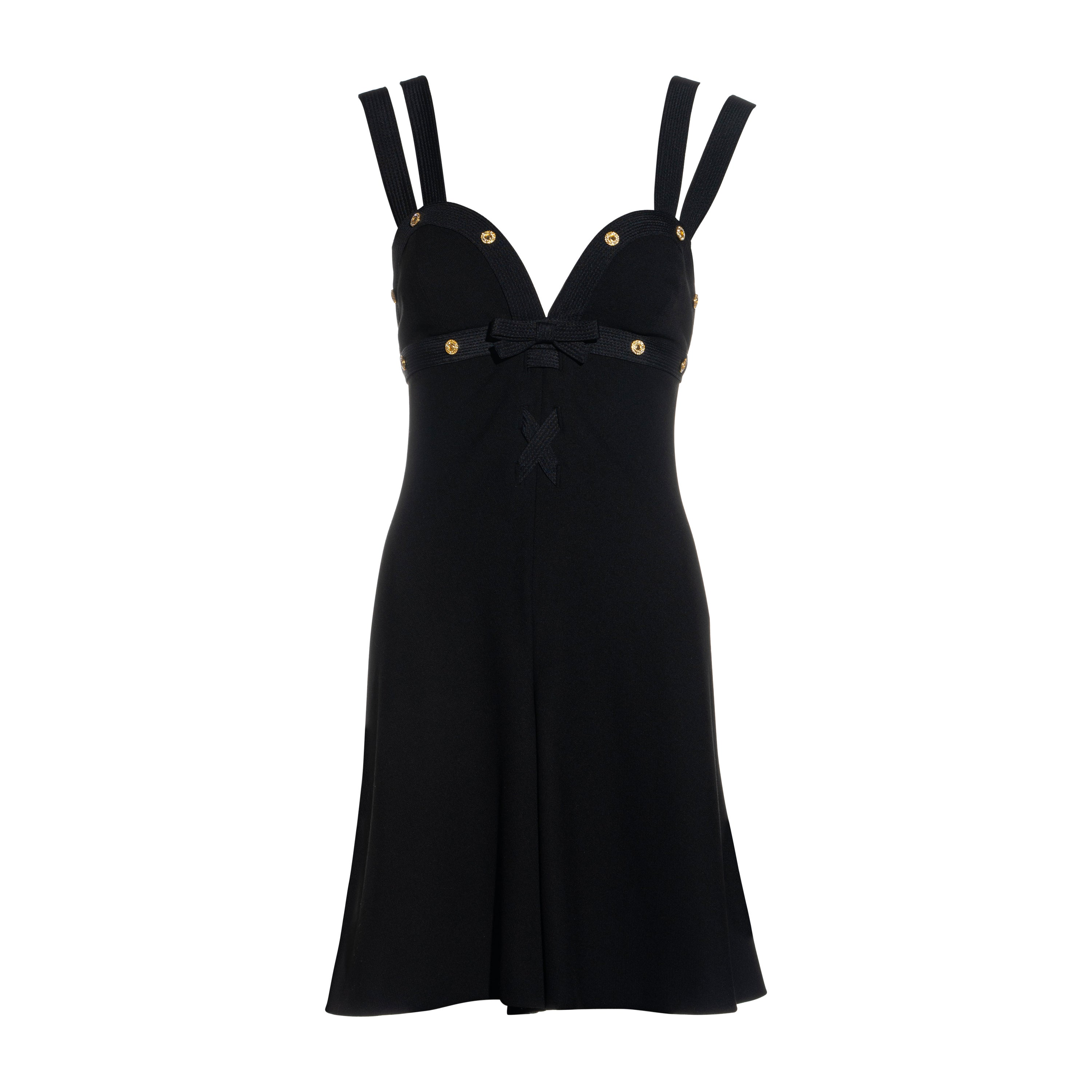 Gianni Versace black wool double strap playsuit with gold crystal studs, ss 1992