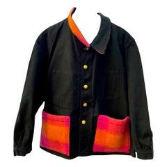 Jacket Black Orange Pink Gold Wool Pocket Gold Buttons J Dauphin